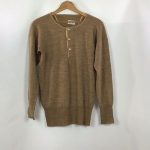 Vintage 100% Wool Unisex Sweater Camel M